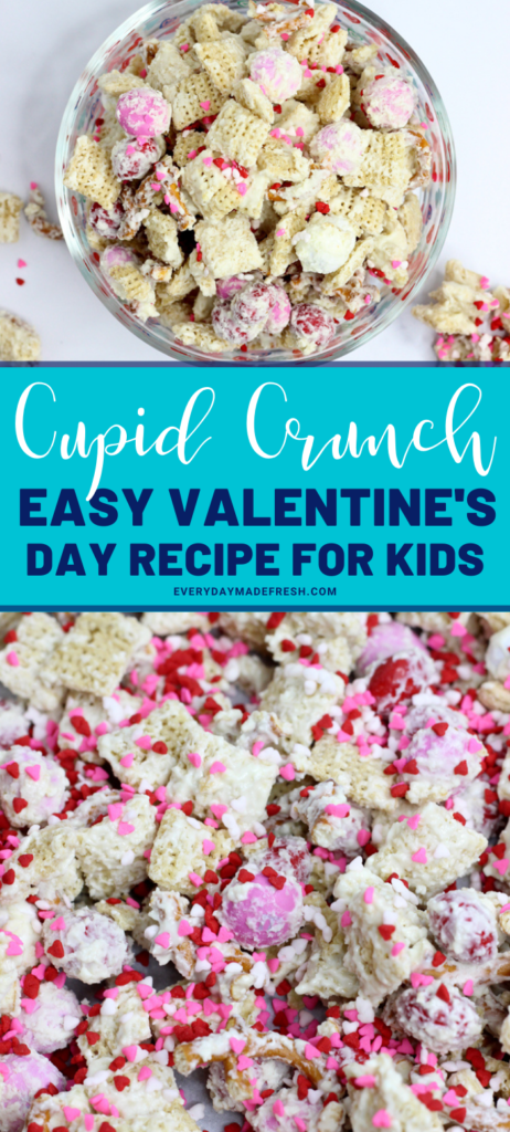 Cupid Crunch is an easy Valentine's Day recipe. Sweet and salty, this white chocolate coated Valentine's Day recipe for kids is fun to eat and easy to make.